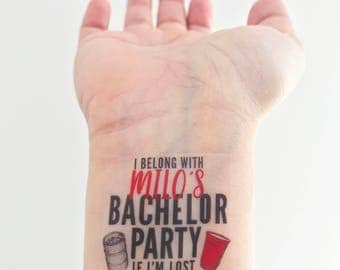 12-15 Custom Bachelor Party Temporary Tattoos - Keg & Solo Cup