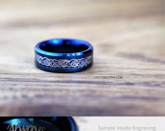 8MM TUNGSTEN Carbide Wedding Band, Deep Ocean Blue With Blue Carbon Fiber Inlay And Silver Dragon Scroll Design Custom Engraved