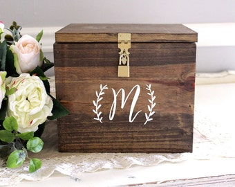 "Wedding Card Box, Wooden Card Box, Large Card Box, Card Box with Locking Lid, Rustic Wedding Decor, B-1 | 10""x10"" (Personalized Monogram)"