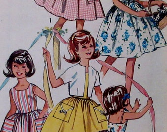 RESERVED For Jill Vintage 1950s  Simplicity Pattern 4968 Girls One-Piece Dress with Two Bodices and  Jacket  Size 4 ** Esteam