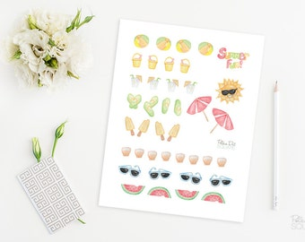 Printable planner stickers Watercolor stickers Watercolor planner stickers Beach stickers Beach planner stickers Instant download