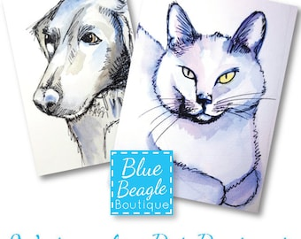 Custom Watercolor Pet Portraits