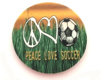 Set of two super absorbent soccer car coasters for your car cup holder - Peace, Love, Soccer - Contains an Antibacterial Agent-Free Shipping