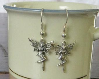 Sterling silver dancing fairy pixie tinkerbell earrings - vintage dangle dazzle - sterling Art Nouveau dangle earrings