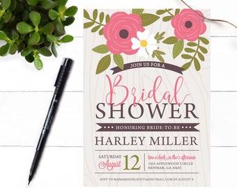 Rustic Rose Bridal Shower Invitation - Garden Shower Invite - Rose Pink