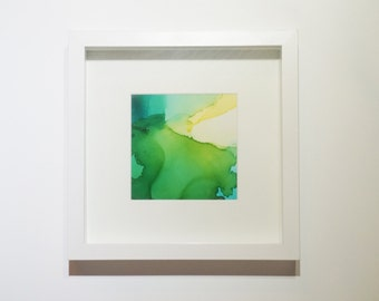 Abstract: 5x5 inch Blue-Green Ink with Frame! Original one-of-a-kind artwork. Blue-Green01