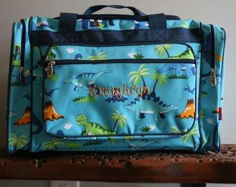 Monogrammed Aqua Dinosaur Medium Duffel Bag