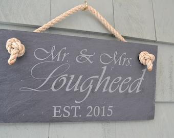 Mr & Mrs House Sign - Slate Door Hanging - Personalized Wedding Bridal Gift