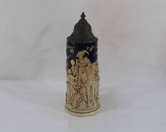 Reiter's Abschied Pottery Beer Stein from Germany - Pewter Lid with Embossed Lady and Knight in Blue and Cream