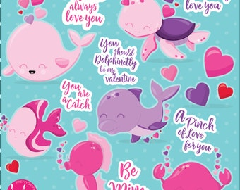 80% OFF SALE Valentine clipart commercial use, sea animals vector graphics, valentine digital ...