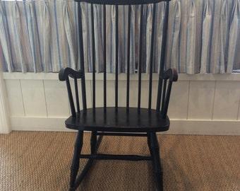 Vintage Black Spindle Back Windsor Rocking Chair
