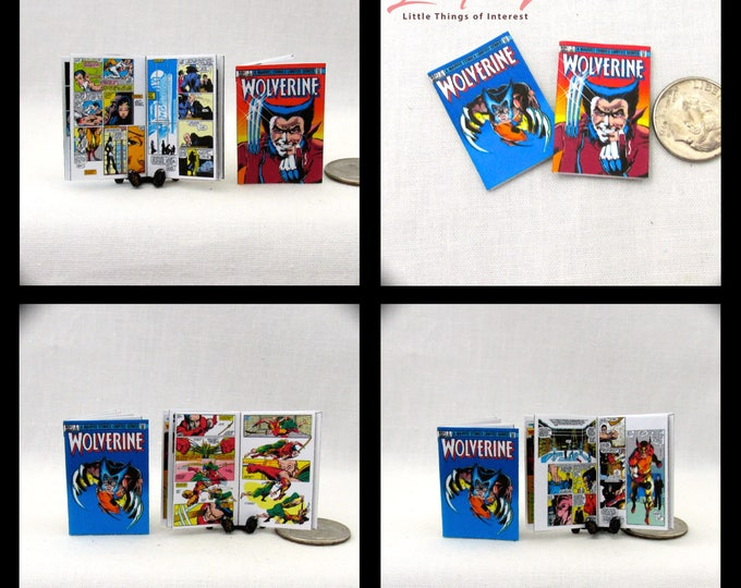 2 Miniature WOLVERINE COMIC Books Dollhouse Miniature Comic 1:12 Scale *2 FOR 1*