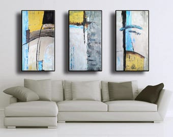 "Set of 3 72""x48"" Original Abstract Acrylic Painting Extra Large TRIPTYCH Black Gray Mustard Yellow White Brown Mocca Blue Unstretched"