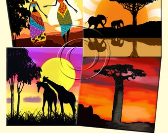 AFRICAN SUNSETS -  Printable Digital Collage Sheet 12 X 4 inch squares for Coasters, Greeting Cards, Gift Tags.  Instant Download #243.
