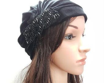 Black Velvet Turban, Fashion Turban, Head Wrap, Ladies Turban Hat, Womens Turban, Black Turban, Turban Headband, Full Turban, Chemo Cap