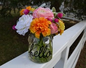 Hello Colorful Silk Flower Arrangement, Glass Vase with  Faux Water, Acrylic Water, Faux Flowers, Boho Chic Flowers, Cheery Flowers