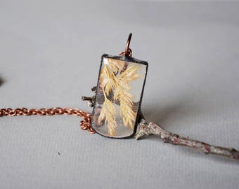 terrarium resin pendant, dried grass necklace, botanical terrarium jewelry, real plant necklace, nature gift, spikelets pendant