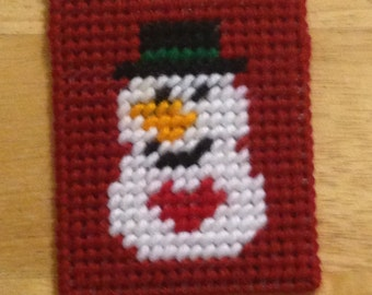 Snowman Gift Card Holder, Plastic Canvas, Snowman Face, Needlepoint Canvas, Christmas gift, stocking stuffer, Card Case, Kids Gift