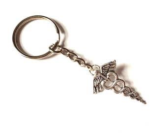 Caduceus Keyring Keychain, Caduceus key ring key chain, doctors gift, med school gift nursing school gift graduation gift nurse doctor