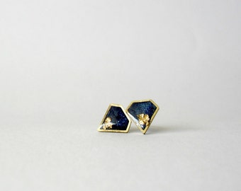 Blue Gold Diamond stud earrings- Navy blue with gold foil post earrings- Delicate jewelry- Preppy studs- Elegant everyday jewellery
