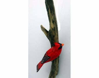Cardinal - right facing. Handcrafted, carved  wooden bird, painted bird, home decor, wall decor, Made in USA