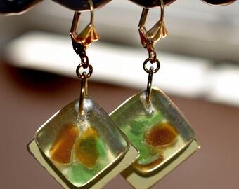 Sea Glass in Resin Earrings