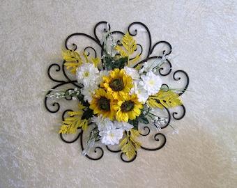 Silk Flower Arrangement, Sunflowers Wall Decor, Silk Flower Wall Decor,  Sunflowers On A Part 15