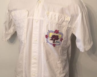 Vintage MENS 1980s Gitano Key Line white cotton oversized short sleeve shirt, size L