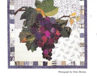 Piece O Cake Designs Gorgeous Grapes 1800s Botanicals Quilt Block Pattern Simply Delicious Series Chart Pack Applique Design Purple and Gray