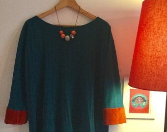 Jersey turquesa y terciopelo
