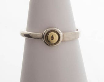 Handmade Sterling Silver and 14k Gold Ring