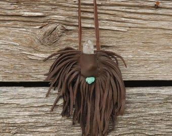 Chocolate Brown Fringed Leather Pouch, Crystal Pouch,Turquoise and crystal