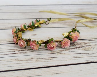 Handcrafted Pink Cream and Gold Flower Crown - Woodland Halo - Flower Girl Crown - Renaissance Flower Crown - Adult Flower Crown - Small Bow