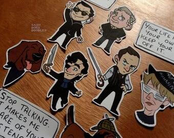 BBC Sherlock stickers and sticker pack -Moriarty, John Watson, Mycroft, Mrs Hudson, Sherlock Holmes and more!