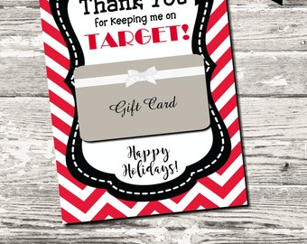 INSTANT DOWNLOAD Thank You for Keeping Me On Target Christmas Thank You Card Printable Digital