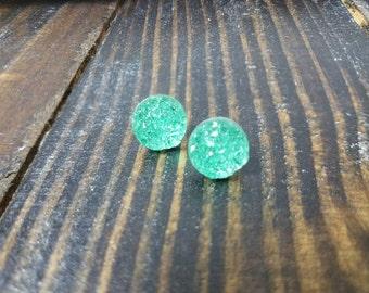 Mint Green Faux Druzy Stud Earrings - 12mm