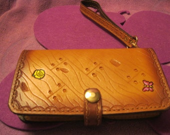 Shades of BROWN LEATHER PHONE Wallet with Small Butterflies and Roses