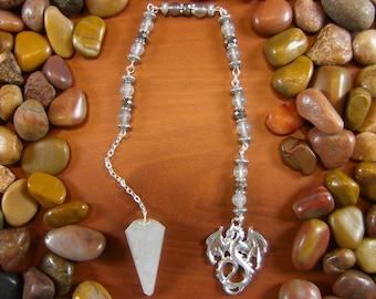 Grey Quartz Winged Dragon Pendulum - Dragon Pendulum, Winged Dragon Pendulum, Grey Quartz Pendulum, Dragon, Grey Quartz, Crystal Pendulum