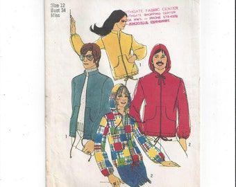 Simplicity 9413 Pattern for Misses' Set of Jackets, Miss Size 12, from 1971, Vintage Pattern, Home Sewing Pattern, 1971 Fashion, Zip Up Hood
