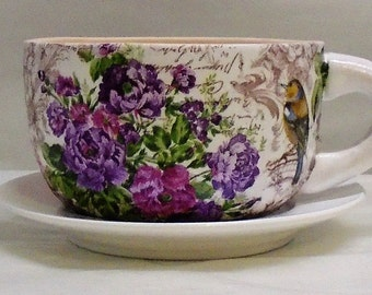 Made To Order, Handmade Decoupage  Ceramic Tea Cup Planter, Birds, Floral 4""