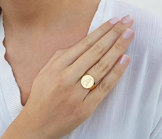 Personalized rings Gold initial ring Gold ring Personalized