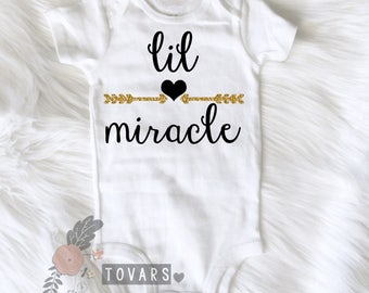 1 Little Miracle with Arrow and Heart Infant - little miracle shirt - little miracle bodysuit - arrow and heart bodysuit - rainbow baby