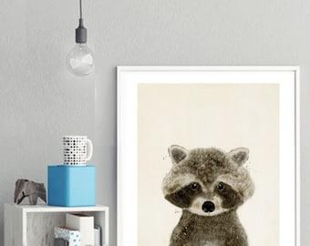 the little raccoon. baby animal portraits.nursery wall art.children's wall decor.nature wall art.little animals art. Giclee fine art prints