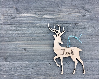 "Personalized Reindeer Name Ornament 4"" inches wide, Custom Christmas Ornament, Babys First Christmas Ornament, Wood Name Ornament"