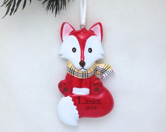 FREE SHIPPING Personalized Christmas Ornament - Red Fox with Burberry Scarf - Hand personalized Christmas ornament