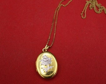 Vintage Gold filled etched Flower Locket, Gold Oval Locket