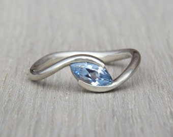 Topaz Engagement Ring, Gold Engagement Ring, Blue Topaz Ring, Marquise Engagement Ring, Unique Engagement Ring, 14k Gold Ring, Unique Ring