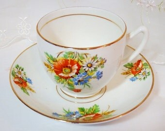 Vintage 1960s Duchess Tea Cup and Saucer, Summer Blooms, Wildflower sprays in Orange, White and Blue