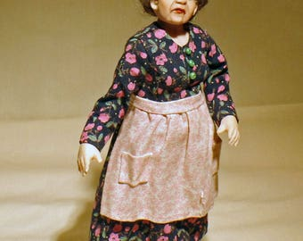 12th scale miniature dolls house doll handmade old lady modern
