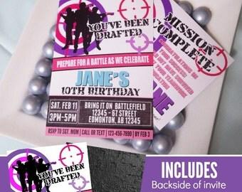 Nerf Wars Invitation | GIRLS Nerf Invitation | Nerf Wars Birthday | Nerf Wars Party Printable | Nerf Decorations | Epic Parties by REVO